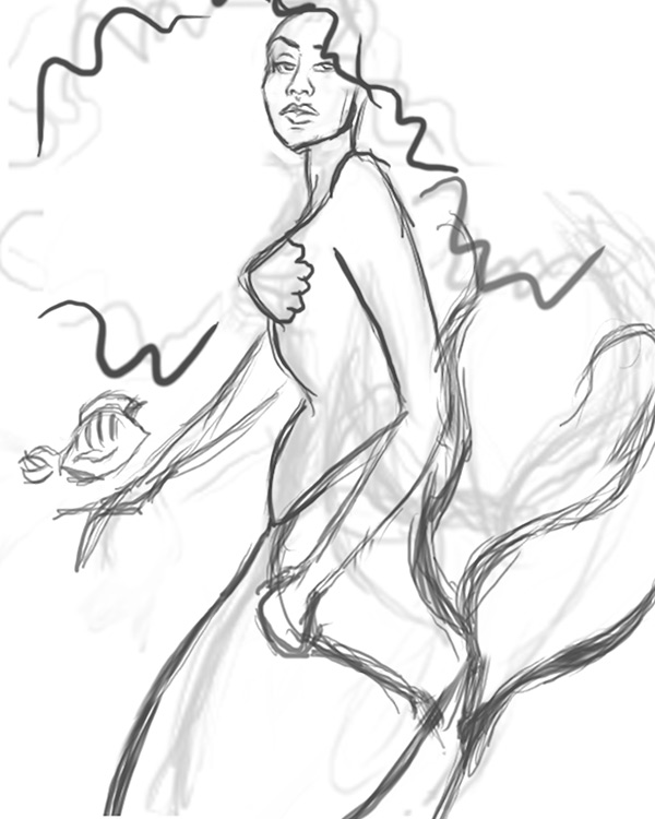 Sketch the Mermaid in Photoshop
