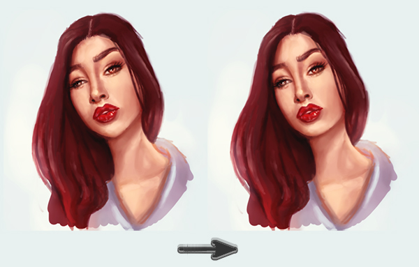 Before and After Using the Liquify Tool to Improve Digital Paintings