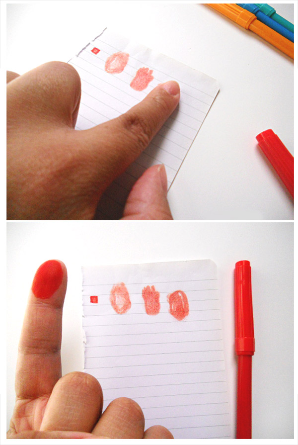 Test Your Fingerprint Stamp on a Scrapped Piece of Paper