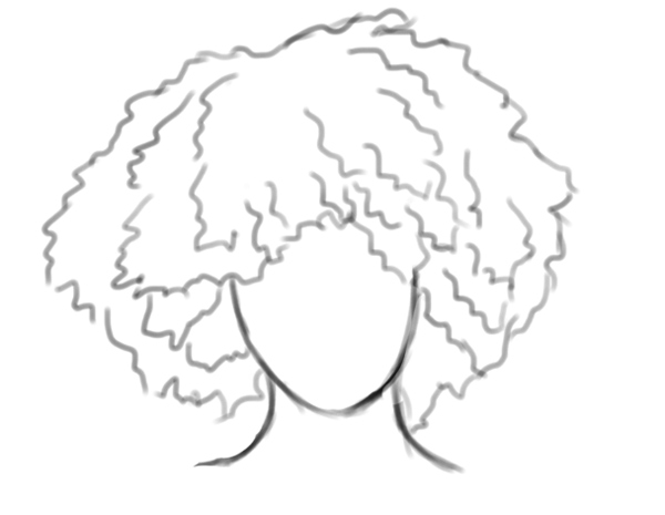 African American Afro Curly Textured Hair Sketch