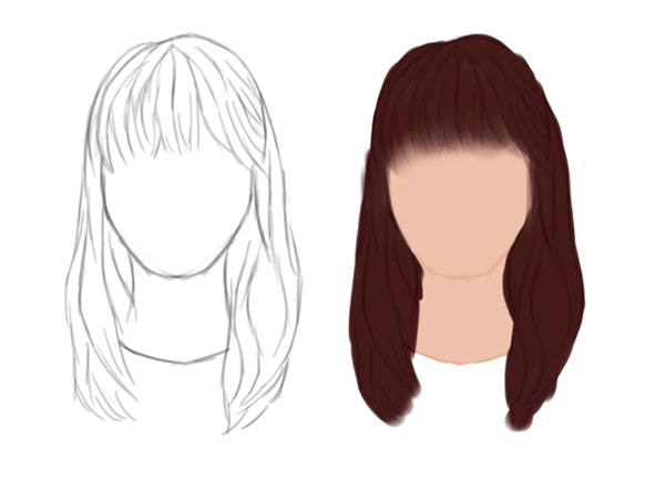 Draw and Paint Straight Hair with Bangs in Adobe Photoshop
