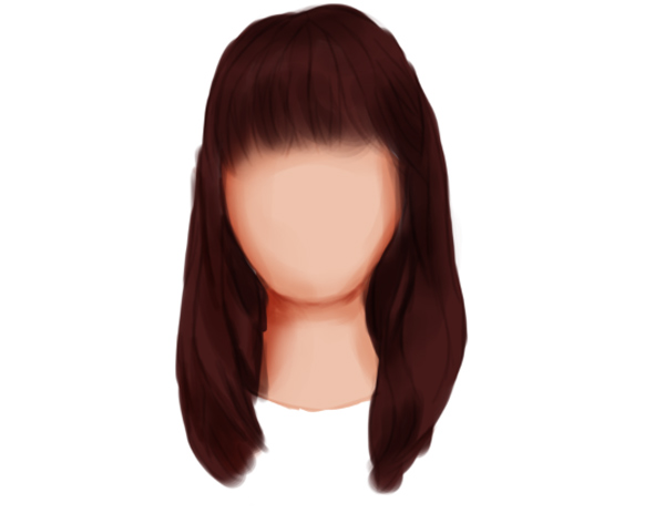 Paint Shadow on for a Straight Hairstyle with Bangs Using Multiply