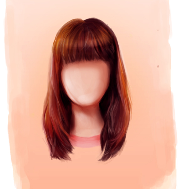 Paint Straight Hairstyles with Bangs in Adobe Photoshop by Melody Nieves