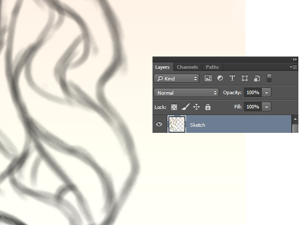 Draw Hair Sketches on a layer set to Normal