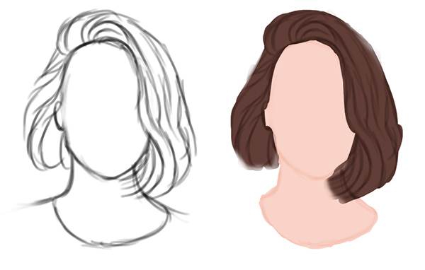 Draw the Sketch and Paint Base Colors for Short Straight Hair