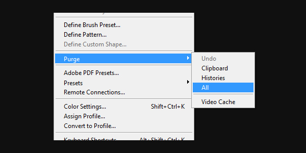Purge All Data to Keep Photoshop From Crashing