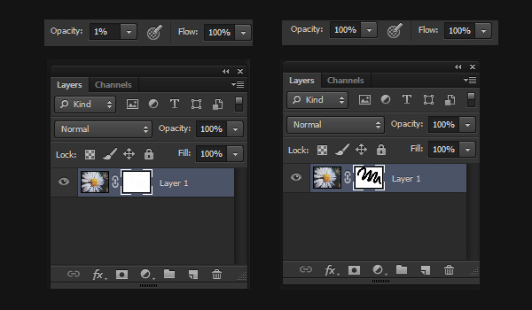 Adjust Brush Opacity and Flow for Layer Masks
