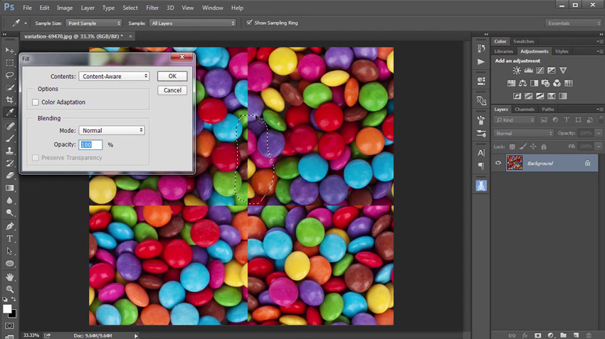 Using Content Aware Fill for Seamless Patterns