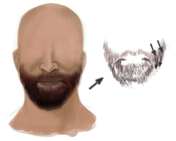 Painting a Realistic Beard Hair Strands in Photoshop