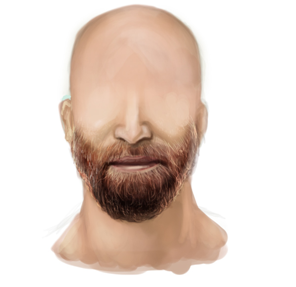 Paint Highlights Using Linear Dodge Add for Realistic Facial Hair