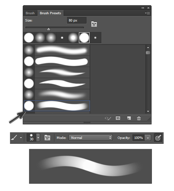Hard Round Pressure Opacity Brush in Adobe Photoshop CC