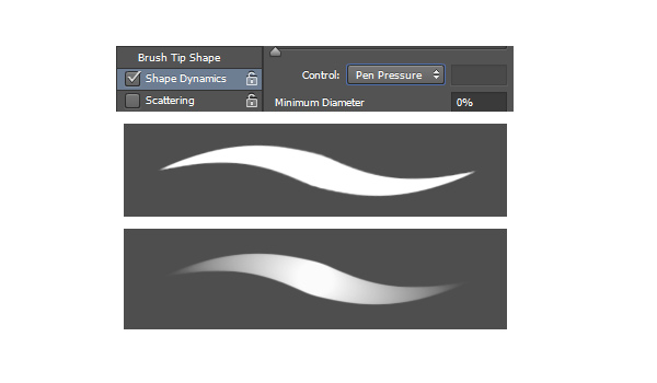 Enable Pen Pressure in Shape Dynamics for the Brush Tool