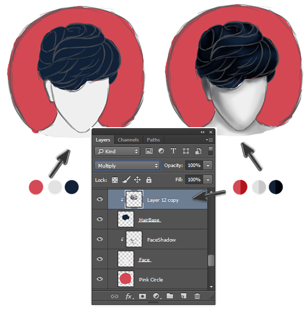 Paint Realistic Shadow Using Multiply Blend Mode for Short Layered Hair