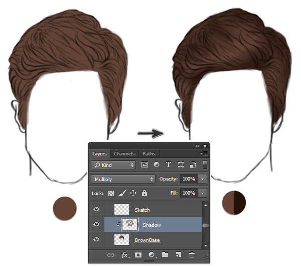 Paint Base Shadows for Realistic Short Hairstyle in Photoshop