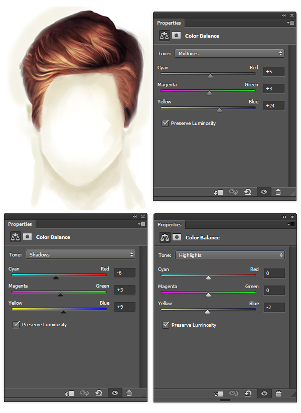 Use Color Balance to Color Correct Painted Pompadour Hair