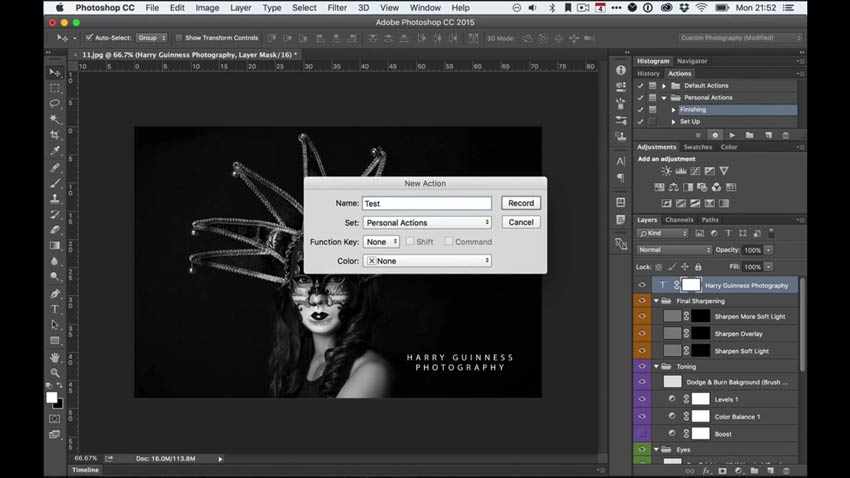 Recording an Action in Adobe Photoshop