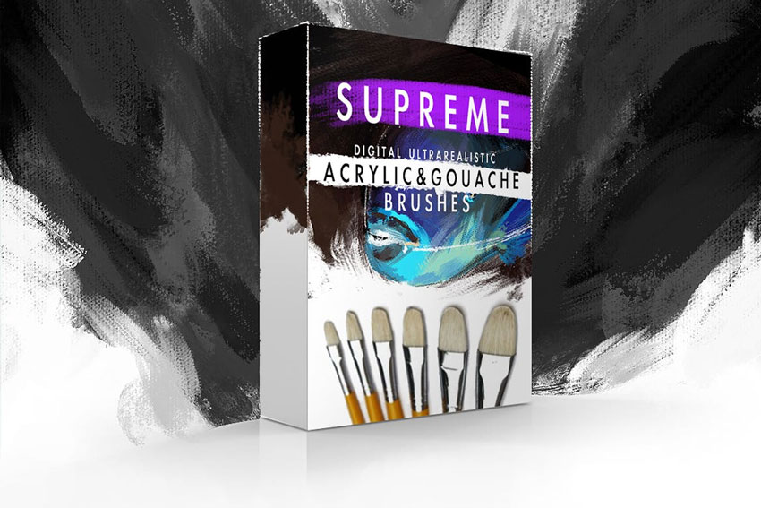 Acrylic and Gouache Photoshop Brush Kit