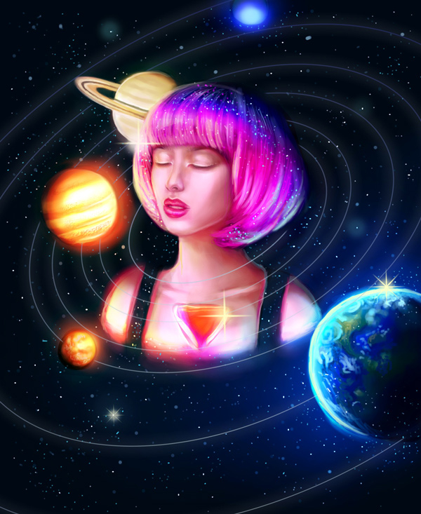 Galaxy Solar System Digital Painting Art by Melody Nieves