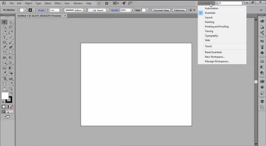 Default Workspaces in Adobe Illustrator