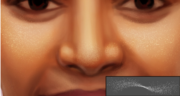 Painting Pores on Skin with Texture Brushes