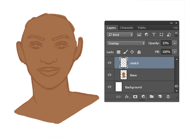 Blending the Sketch Into the Skin Color with Overlay