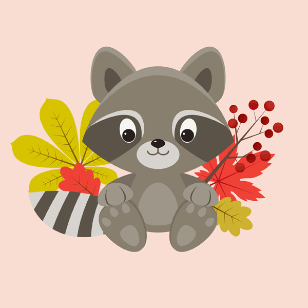 Autumn Raccoon Character Design