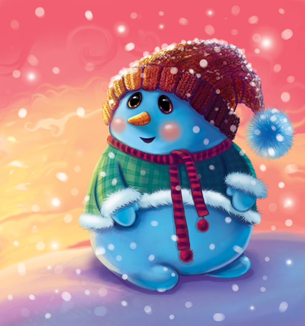 Snowman Character Design and Background