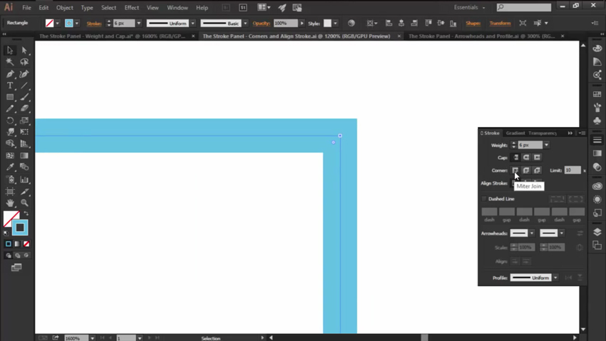 The Corners Option in Adobe Illustrators Stroke Panel