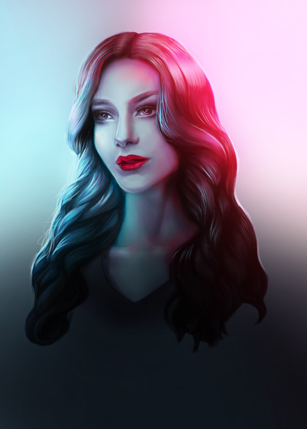 Digitally Painting Colorful LIghting Effect by Melody Nieves