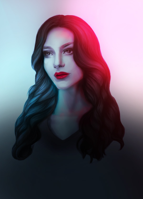 Add Shadow to a Colorful Portrait in Adobe Photoshop