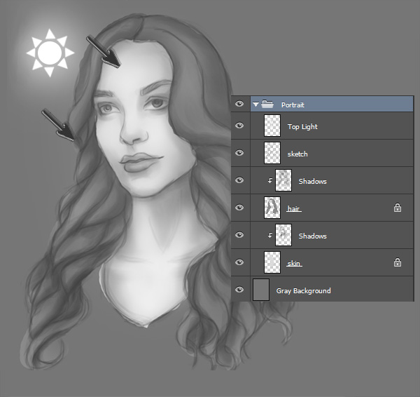 Digitally Painting Black and White Base Tones