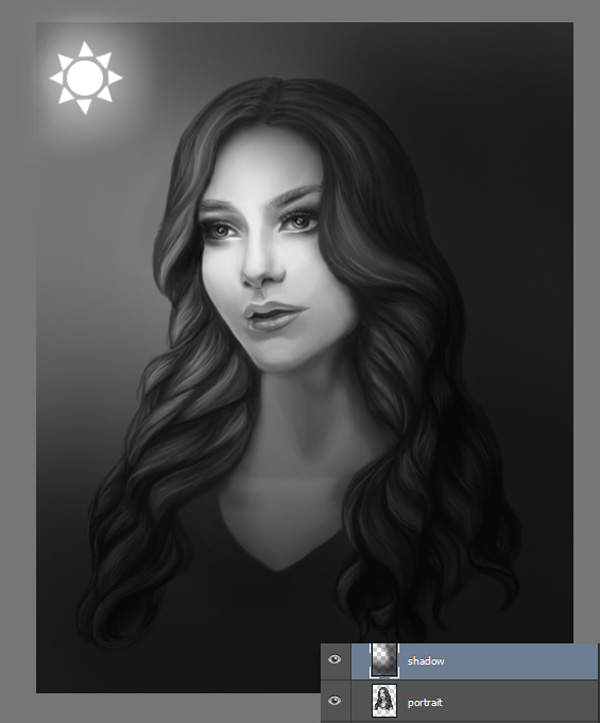 Paint Shadow onto Digital Portraits for Spotlight Effect