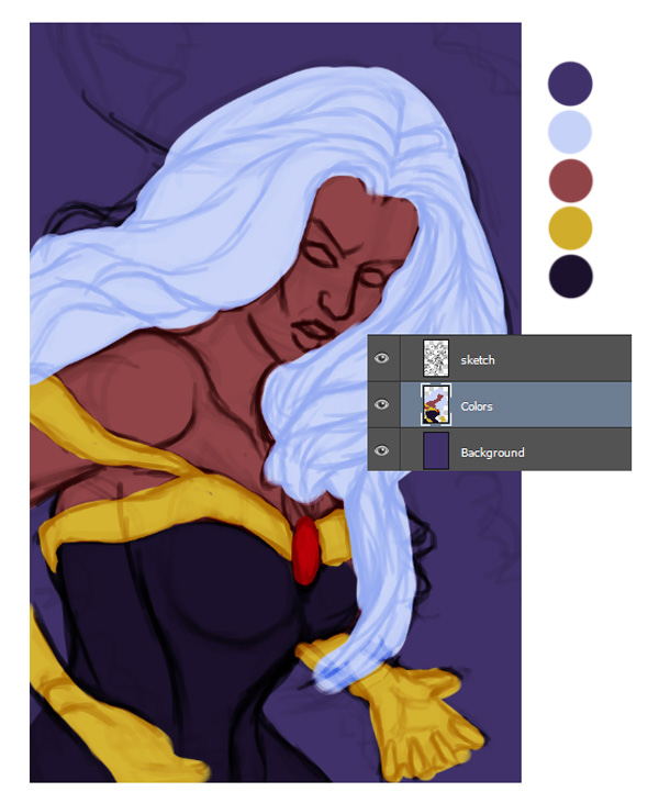 Paint the Base Colors for the Storm Painting