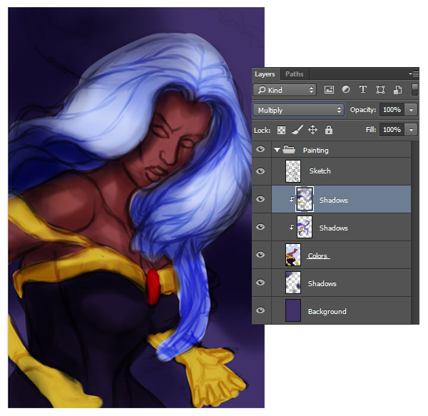 Paint Shadows for Superhero Portrait in Photoshop