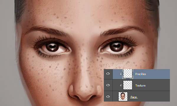 Painting Freckles on Skin in Photoshop