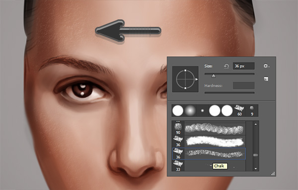 Paint Pores with the Chalk Brush in Photoshop