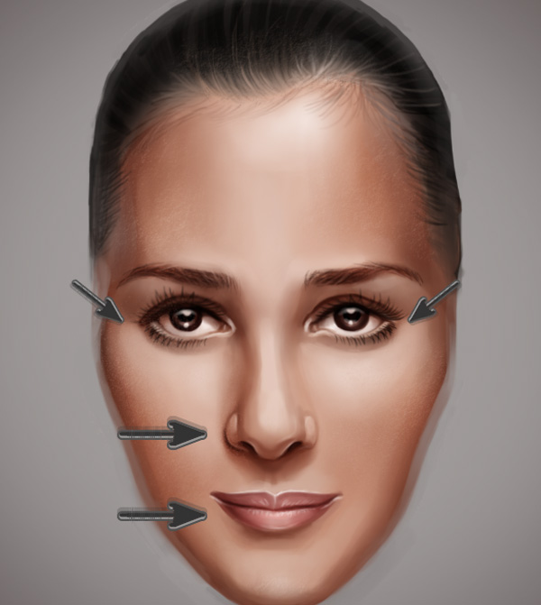 Sagging Face Features in Photoshop with the Liquify Filter