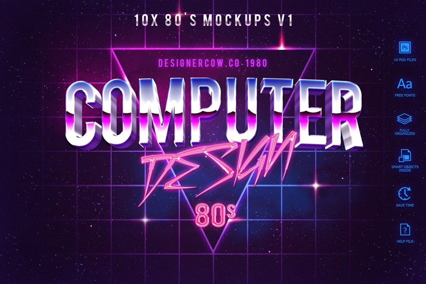 80s Style Text Mockups V1