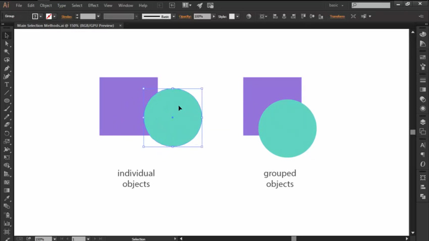 Using the Selection Tool to Move Objects