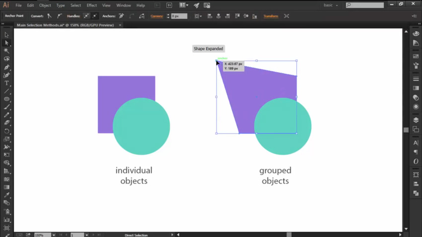 Altering Shapes with the Direct Selection Tool