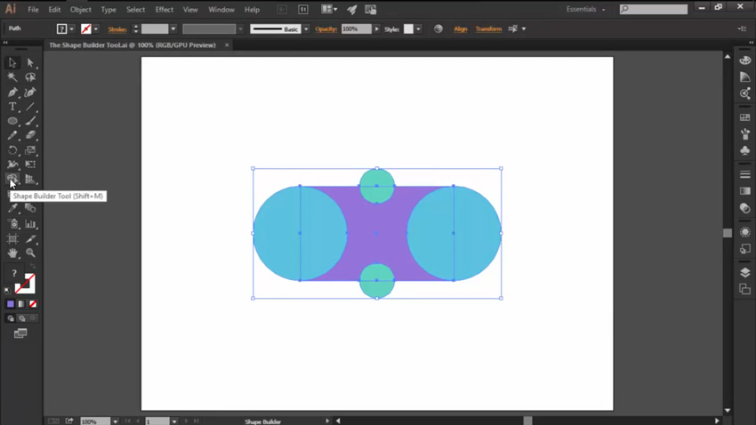 Accessing the Shape Builder Tool in Illustrator