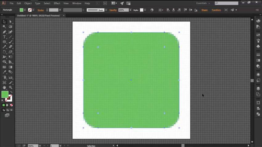 Create the Buttons Main Green Shape