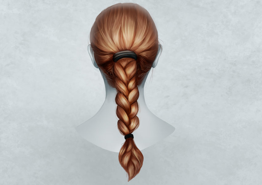 Painting a Realistic Braid Hairstyle in Adobe Photoshop by Melody Nieves