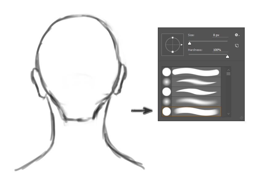 Drawing the Back of a Head for Hairstyle Preparation