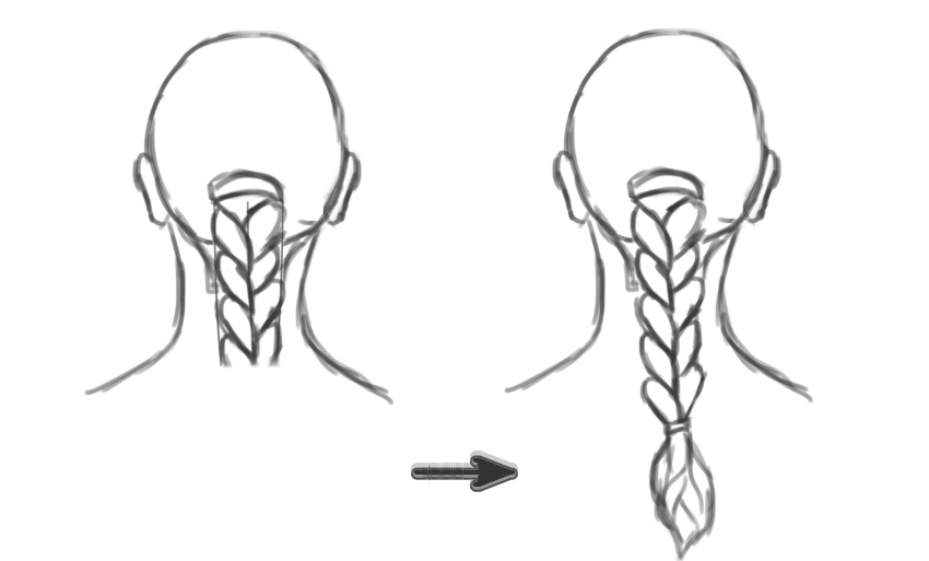 Draw the Curves of a Braid Hairstyle