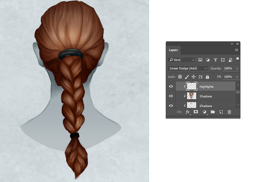 Painting Braid Highlights in Photohshop