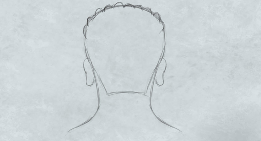 Drawing the Head and Neck for a Dreadlock Hairstyle
