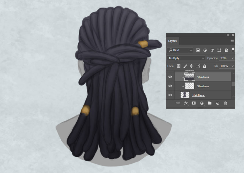 Use the Gradient Tool to Paint Shadow on Hair
