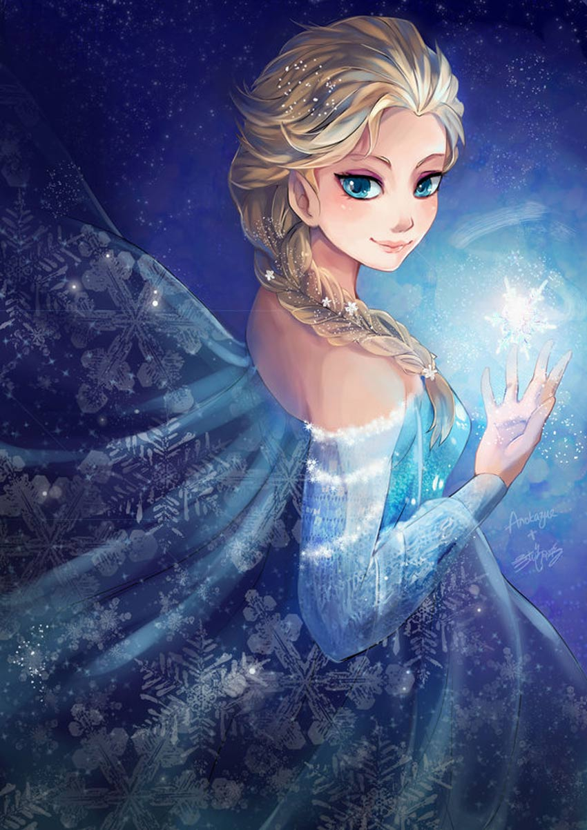 Elsa Fan Art by Stephanie Lee and Anokazue
