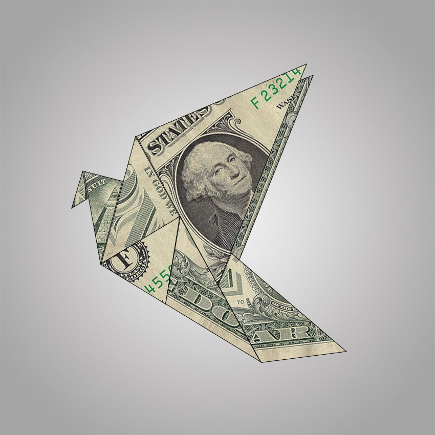Origami with Dollar Bills Photoshop Effect